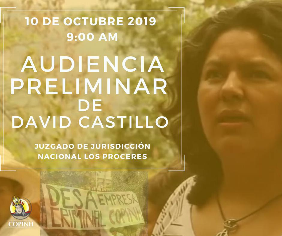 Honduras: Convocatoria audiencia preliminar David Castillo