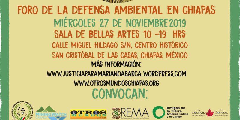 """PRIMER RECONOCIMIENTO A LA DEFENSA AMBIENTAL EN CHIAPAS 2019  """"MARIANO ABARCA"""""""