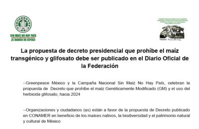 PRONUNCIAMIENTO: La propuesta de decreto presidencial que prohíbe el maíz transgénico y glifosato debe ser publicado en el DOF
