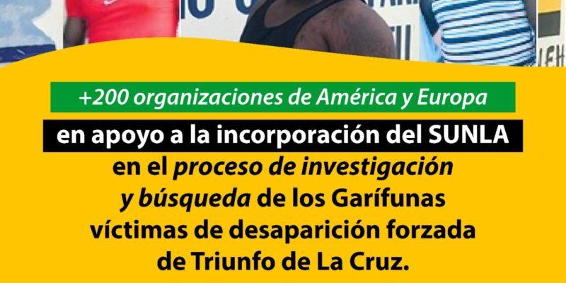 Carta en apoyo a la incorporación del SUNLA en el proceso de Investigación y Búsqueda de los Garífunas victimas de desaparición forzada de Triunfo de La Cruz