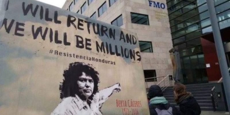 FMO retira financiamiento a banco FICOHSA. FICOHSA es responsable de hechos de violencia que llevaron al crimen contra Berta Cáceres.